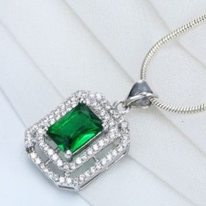 1 Left Emerald and cz necklace